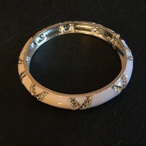 White enamel and silver Avon bangle
